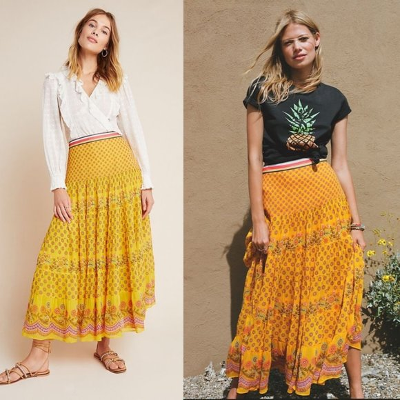 Anthropologie Dresses & Skirts - ANTHROPOLOGIE Calinda Tiered Beaded Maxi Skirt